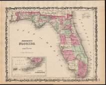 Civil War era map of Florida, 1863
