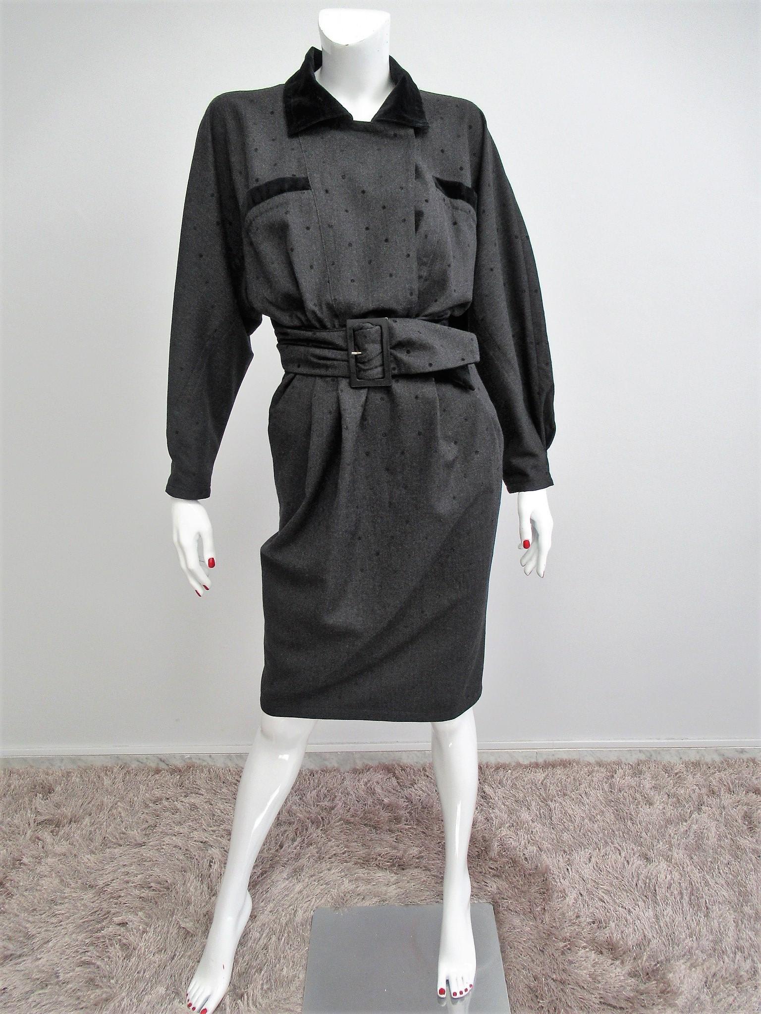 Mariella Burani vintage wool and velvet dress Size M