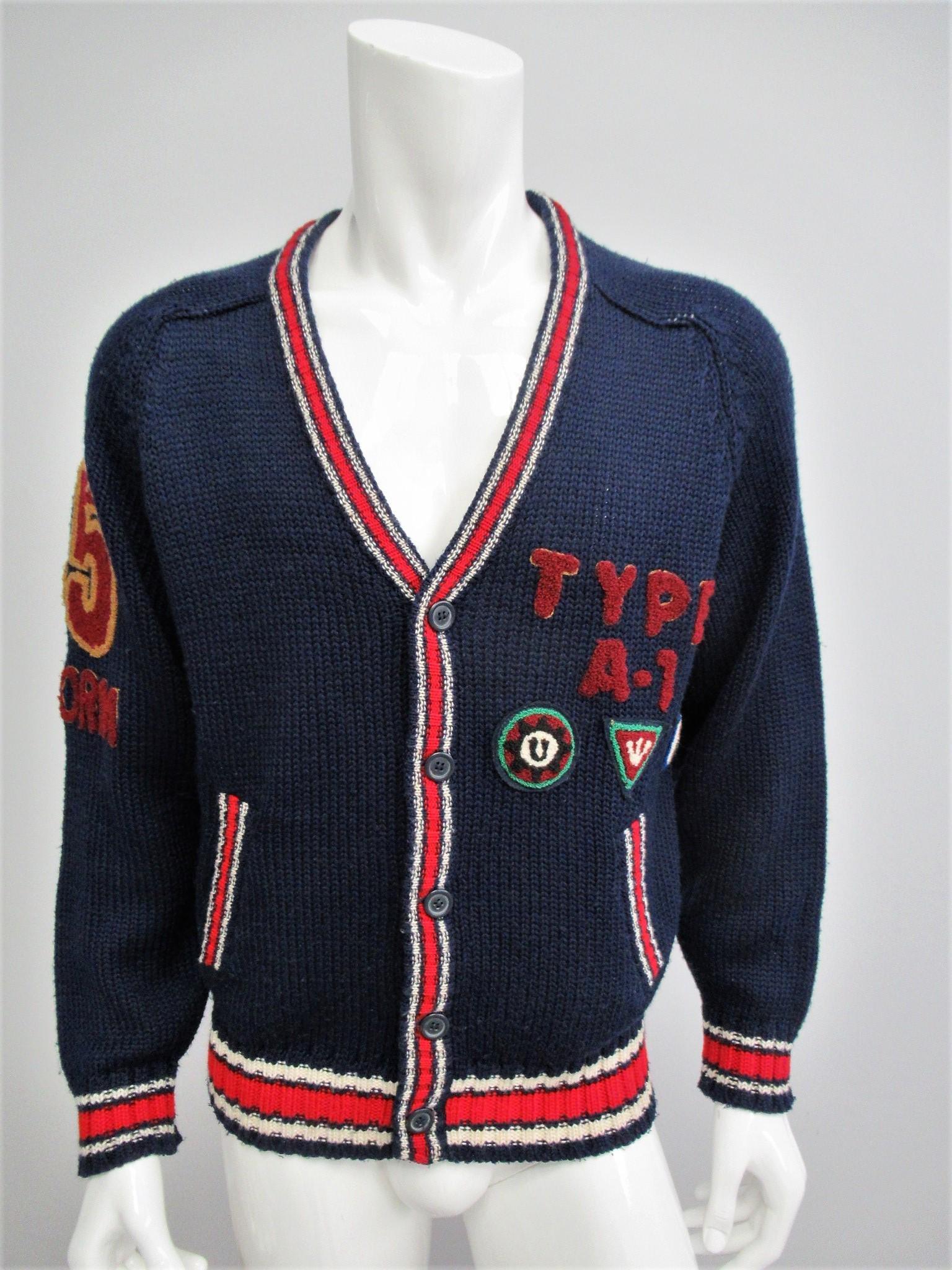 Uniform vintage wool unisex cardigan Size L