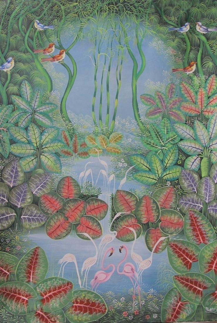 Aland Estime (Haitian Art): Birds Paradise