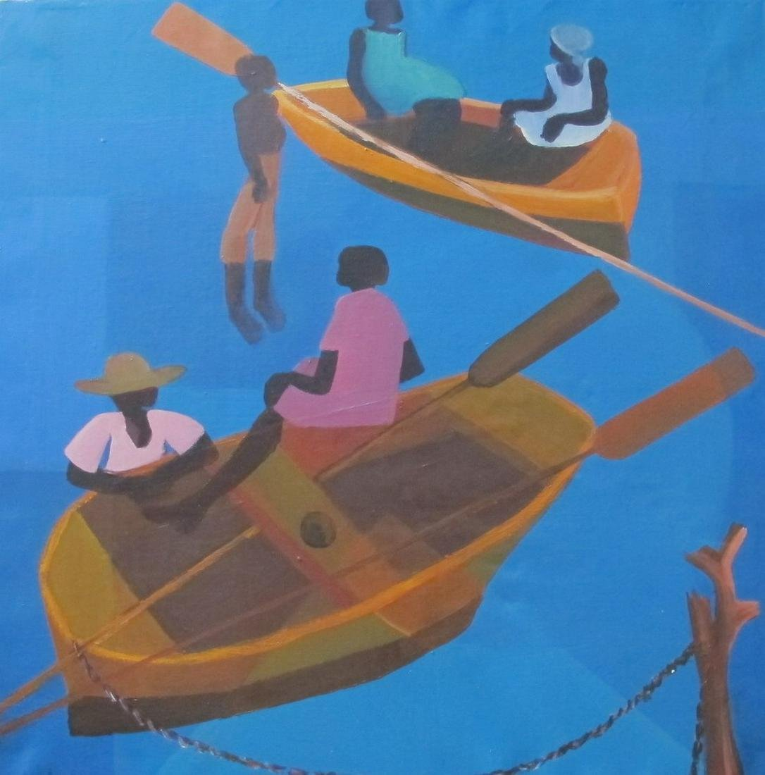 Calixte Henry (Haitian Painting): Fishing/Boats
