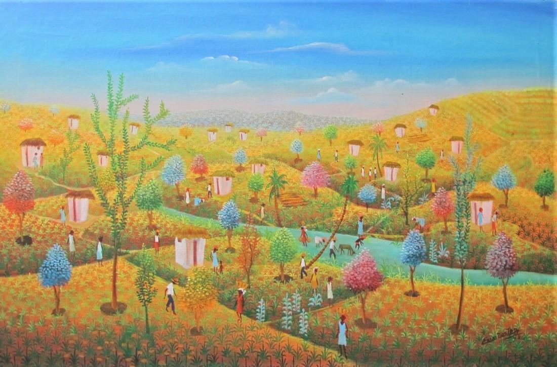 Emmanuel Dostaly Haitian Art : Rural village