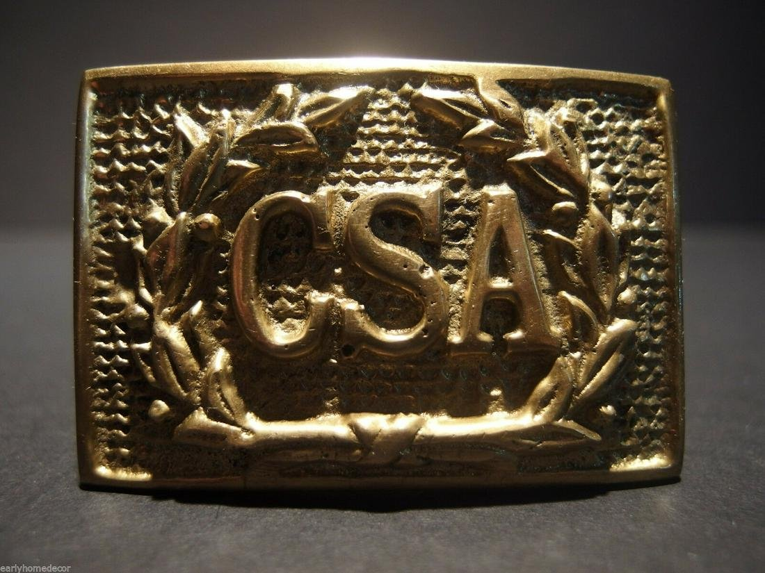 Civil War Confederate CSA Belt Buckle Plate SOLID Brass