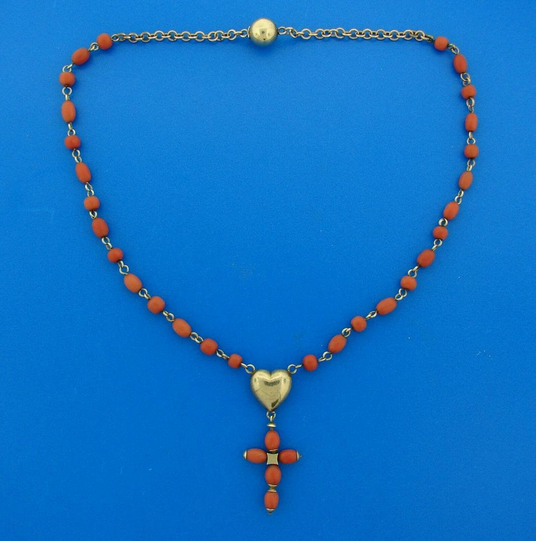1900s Victorian CORAL YELLOW GOLD ROSARY Religious