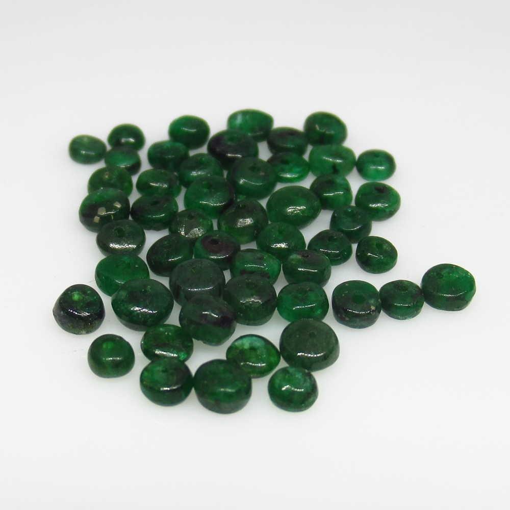 7.81 Ct Genuine 53 Zambian Emerald Drilled Round Beads