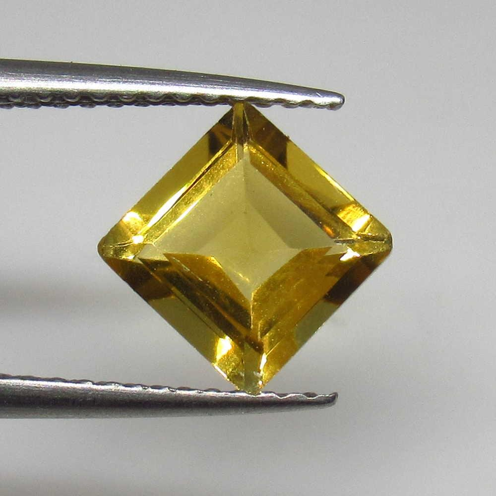 1.40 Ctw Natural Yellow Citrine Square Cut