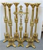 Set of 6 Gothic Brass Church Altar Candlesticks with
