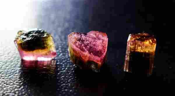 Natural & unheated~ Pink Cap Tourmaline Crystal Lot