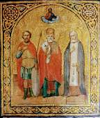 Antique Russian 19c icon of Selected Saints
