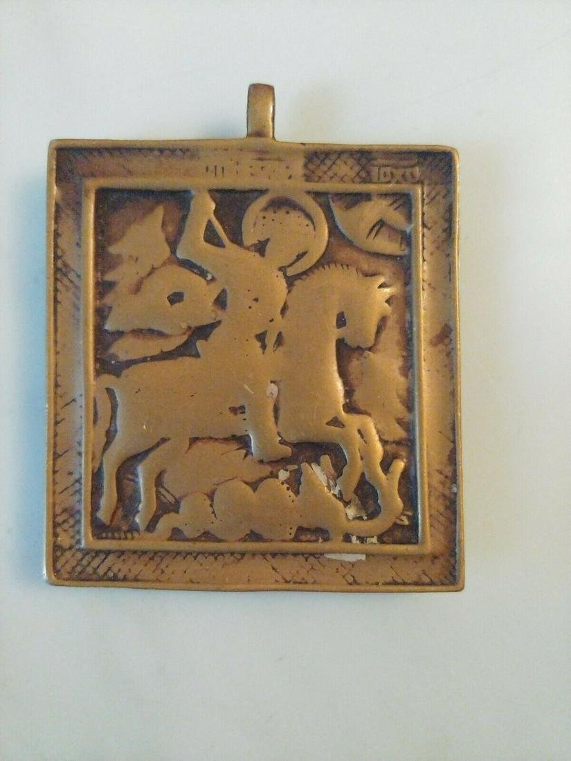 Antique Russian Bronze icon of St.George