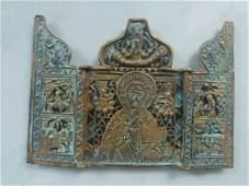 Antique 19c Bronze Enamel triptych of St.Nicholas