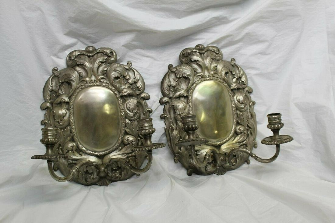 Silvered Sconces, Early American style .Candleabras
