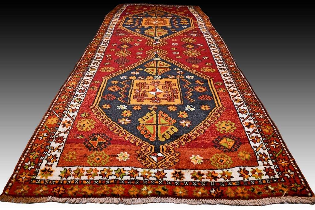 Antique Anatolian Kazak runner rug - 10.4 x 4