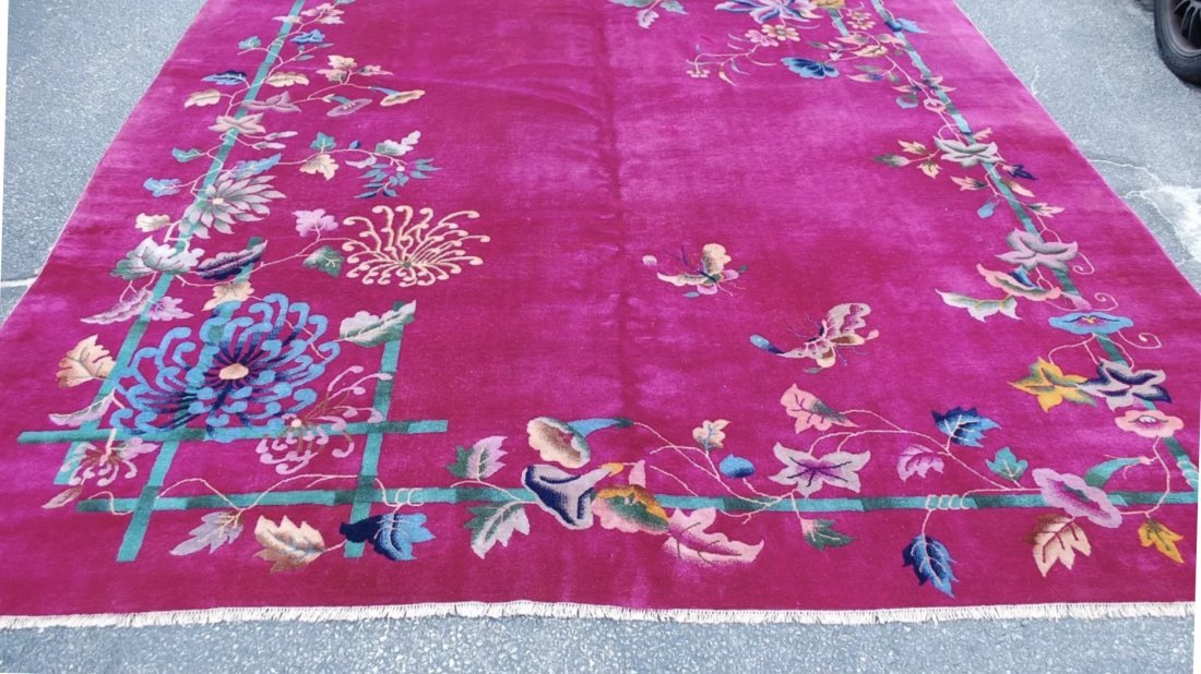 Circa 1960s ANTIQUE MINT ART DECO ROOM SIZE CHINESE RUG