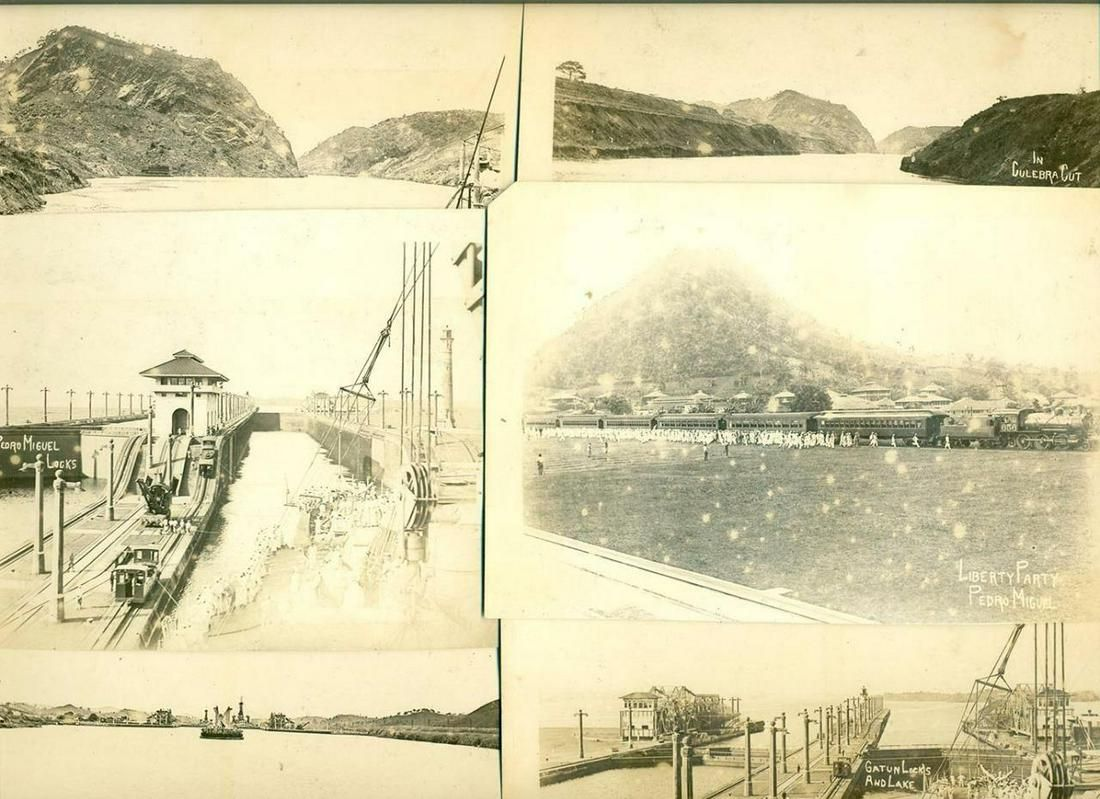 LOT of 6, c 1914 PANAMA CANAL PEDRO MIGUEL LOCKS