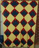 Vintage 20s Maple Leaf Red  Teal Antique Quilt Top