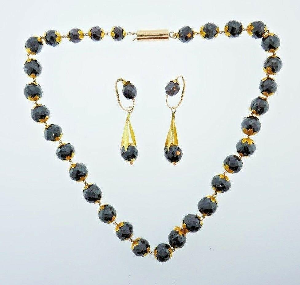 VICTORIAN 14k & 18k Yellow & Rose Gold & Faceted Garnet