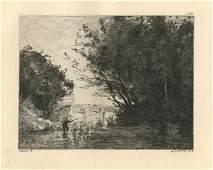 Jean-Baptiste Corot etching (Le Pecheur)