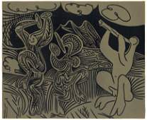 """Pablo Picasso linocut """"Dancing Satyrs and Flute Player"""""""