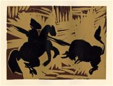 """Pablo Picasso linocut """"The Goading of the Bull"""""""