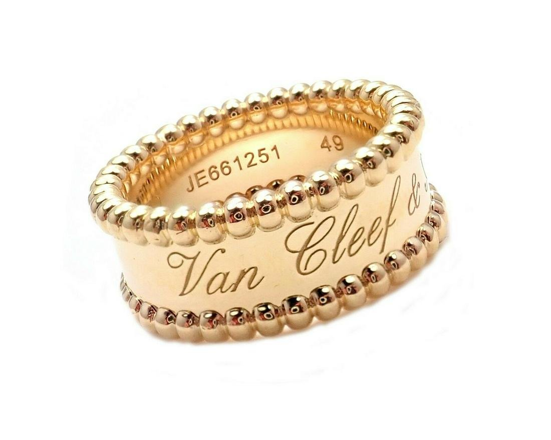 Van Cleef & Arpels VCA 18k Yellow Gold Perlee Band Ring