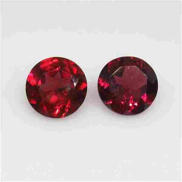 2.86 Ctw Natural Pink Rhodolite Garnet Round Pair