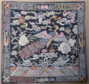 19c Chinese textile 3rd RANK BADGE mandarin square