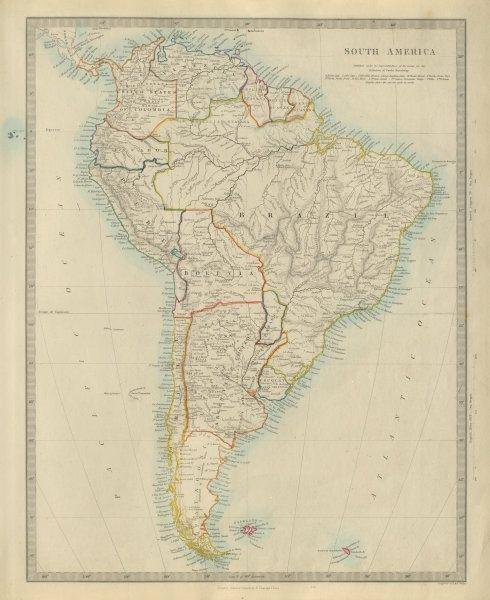 SOUTH AMERICA Brazil Chile Peru Bolivia W/ Litoral