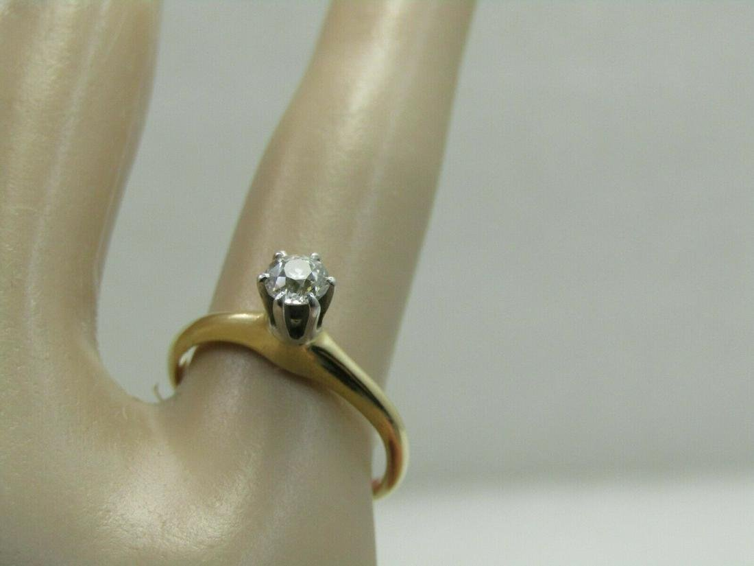 Victorian 14kt Diamond Engagement Ring, Old Mine,