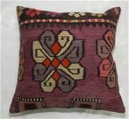 Purple Turkish Kilim Rug Pillow