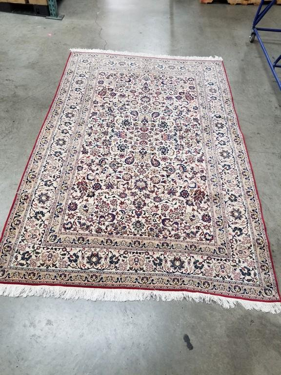 Persian Nain Wool pile with silk floral outlines hand