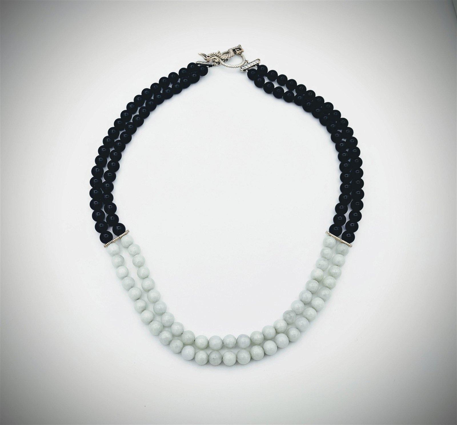 Black Onyx & Jade Beaded Necklace w Amethyst & CZs