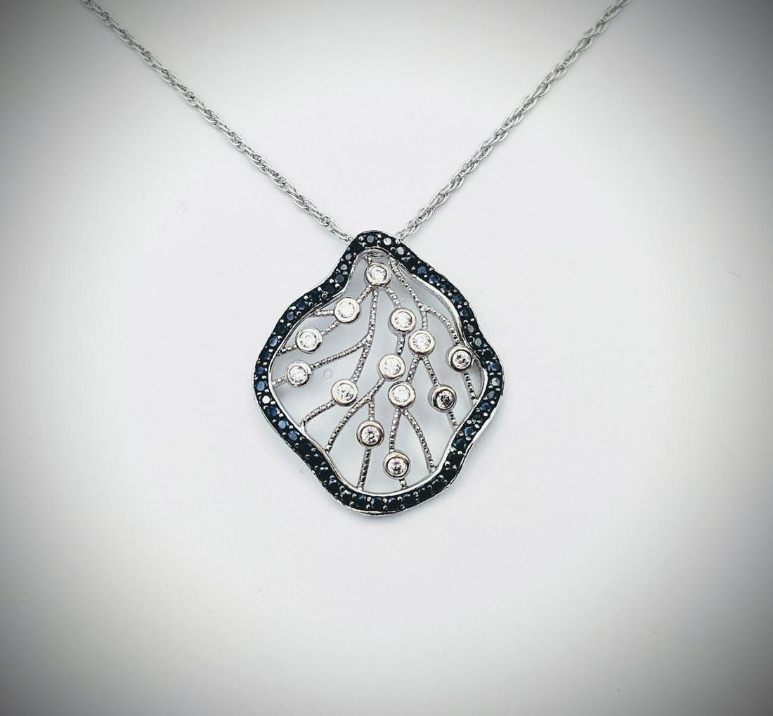 Sterling Silver Necklace w Black Diamonds & CZs Pendant