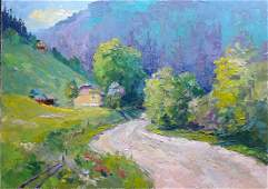 Oil painting Road in the mountains Serdyuk Boris