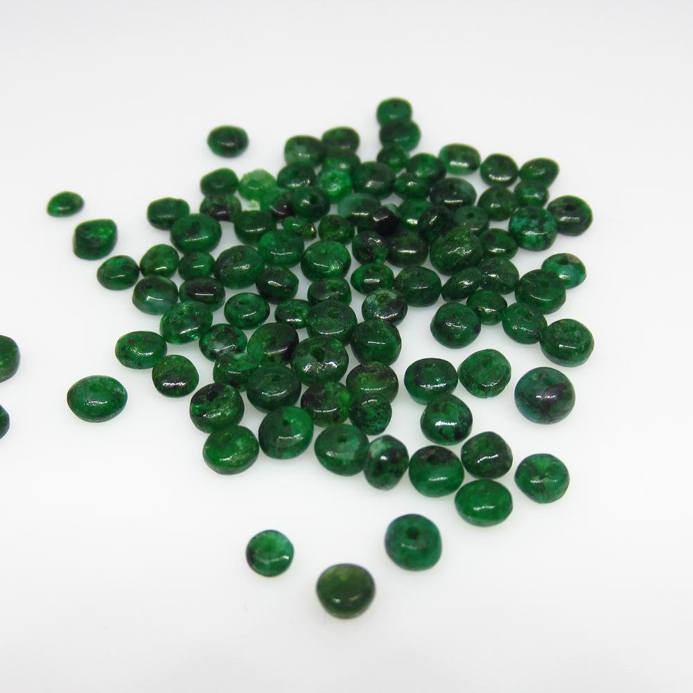 13.78 Ct Natural 90 Drilled Emerald Round Beads