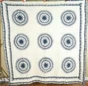 1880's Indigo & White Compass Quilt