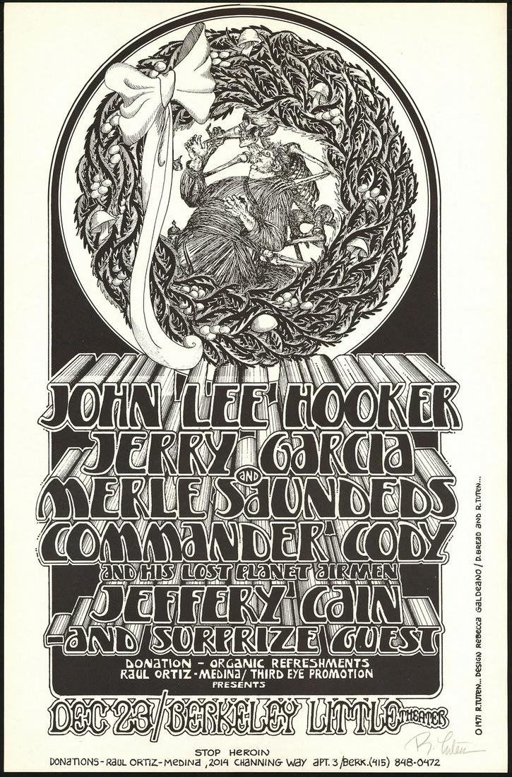 Jerry Garcia At The Berkeley Little Theater Poster