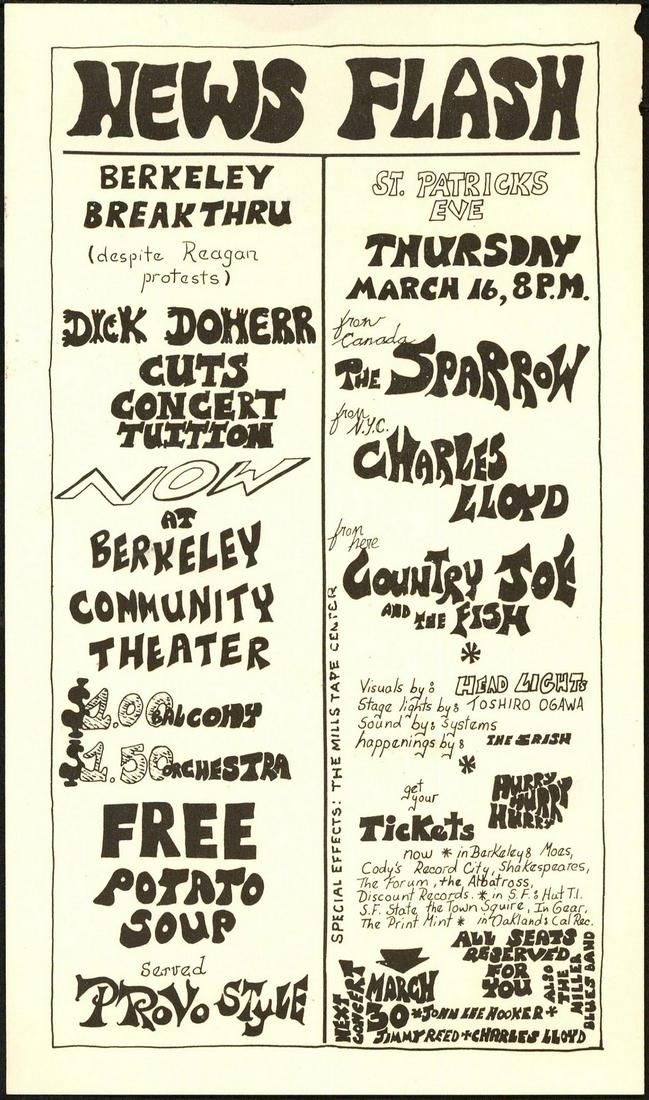 Interesting 1967 Berkeley Community Theater Handbill