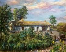 Oil painting house on the outskirts Eteri Izrailevna