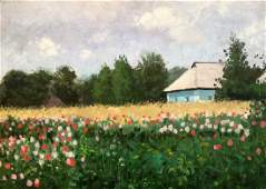 Oil painting View from the path to the garden Ivan