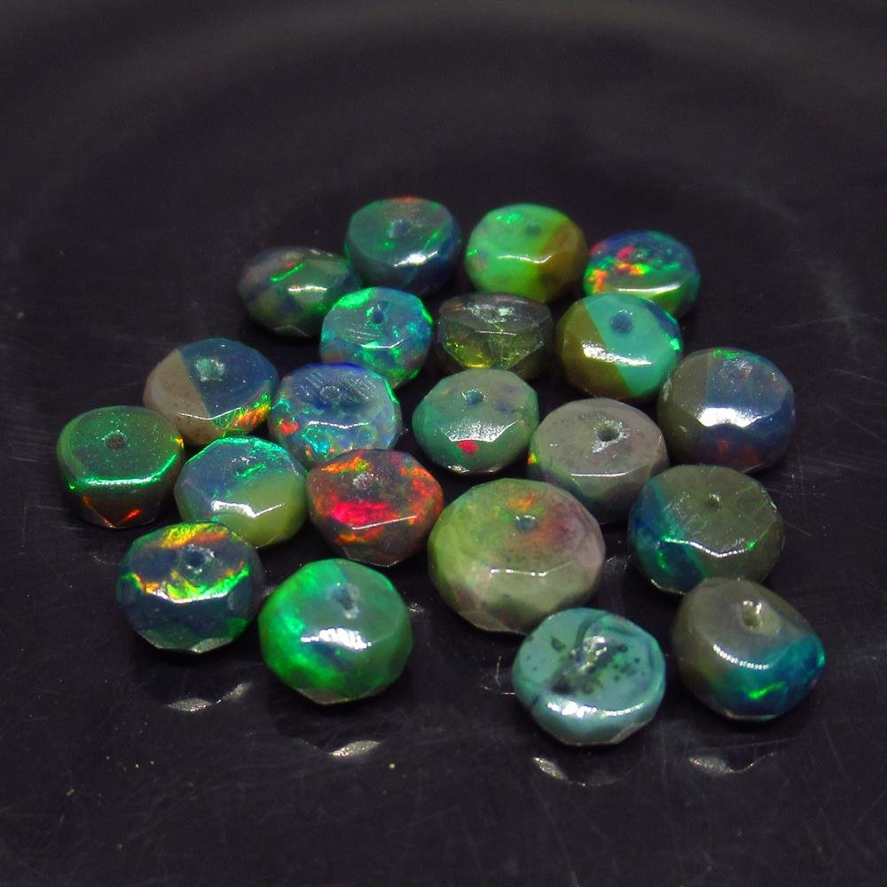 7.25 Ct Natural 21 Drilled Faceted Fire Black Opal
