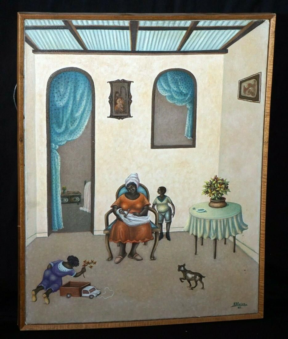 1982 Haitian Acrylic Painting Interior Scene w. Figures