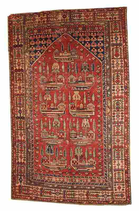 Handmade antique prayer Turkish Anatolian rug 4.1' x