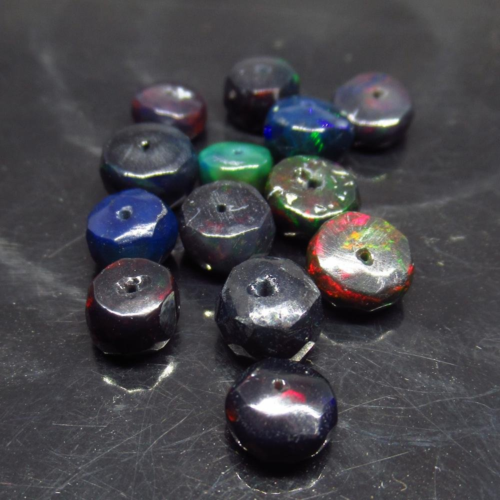 8.67 Ct Natural 13 Drilled Faceted Fire Black Opal