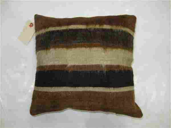 Brown Mohair Striped Rug Pillow