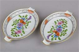 Pair of Herend Waldstein Multicolor Nut Dishes