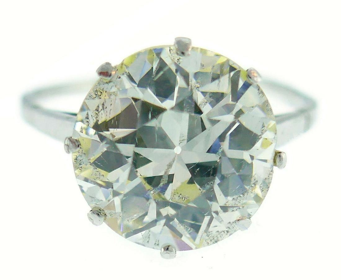 Art Deco Diamond Platinum Solitaire RING 4.86 Carat Old