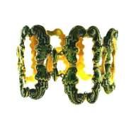 ANTIQUE 14k Yellow Gold Enamel Bracelet wSafety