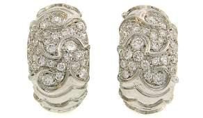 MARINA B Diamond White Gold Hoop EARRINGS Vintage 1980s