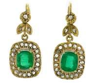 Victorian Emerald Diamond Gold Dangle EARRINGS